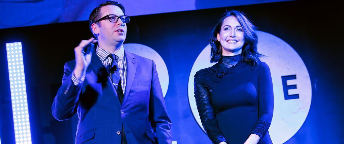 Greg Miller and Jessica Chobot hosting the 2017 DICE Awards