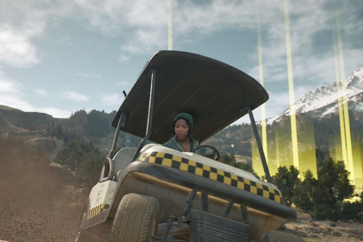 A woman rides in a golf cart in a screenshot from Days Gone