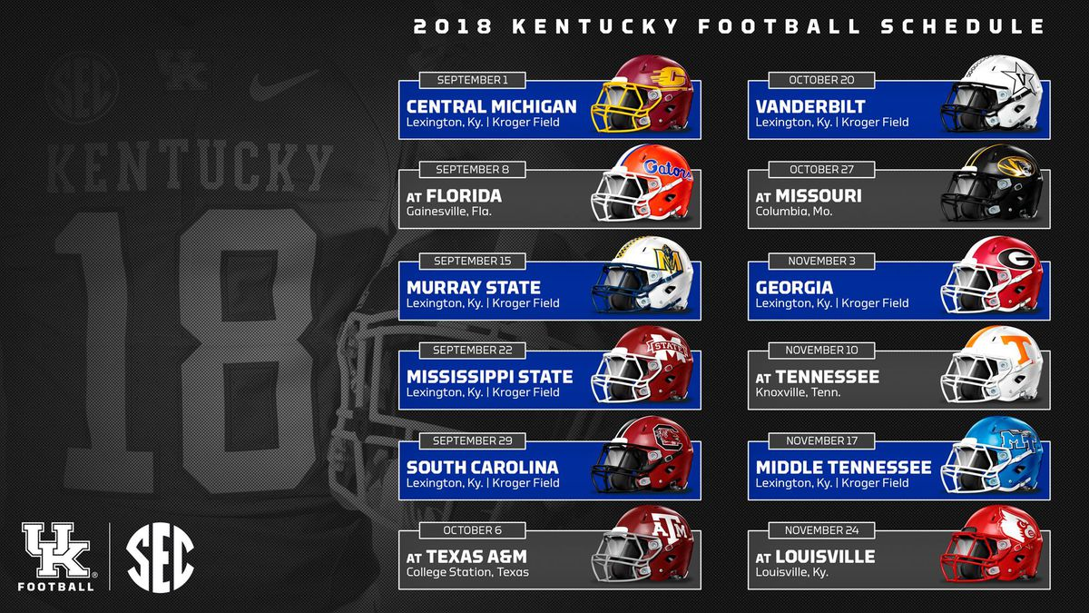 Uk Basketball Schedule: Kentucky Wildcats Football 2018 Schedule, Dates, Locations