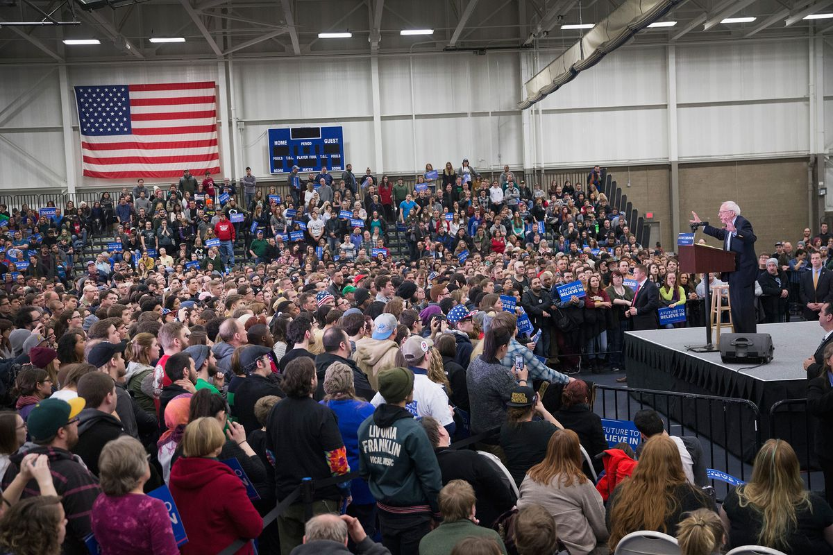 Sanders in Warren, Michigan. (Photo by Scott Olson/Getty Images)