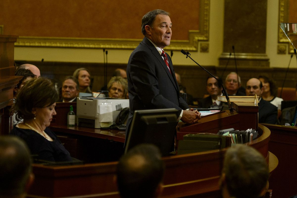 FILE - Gov. Gary Herbert gives his State of the State address in the Utah House of Representatives in Salt Lake City on Wednesday January 24, 2018.