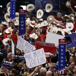 Delegates cheer Donald Trump's nomination during the National Republican Convention in Cleveland on Tuesday, July 19, 2016.