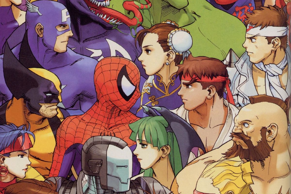 Artwork of various Street Fighter, Marvel, and Capcom characters from Marvel vs. Capcom 2