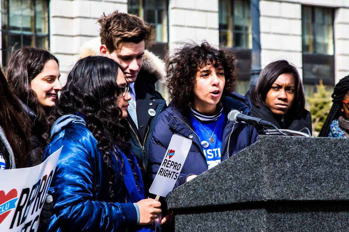 Marlon Rajan, a New York City high school student who administered surveys with the NYCLU about sex education, speaks at an event.
