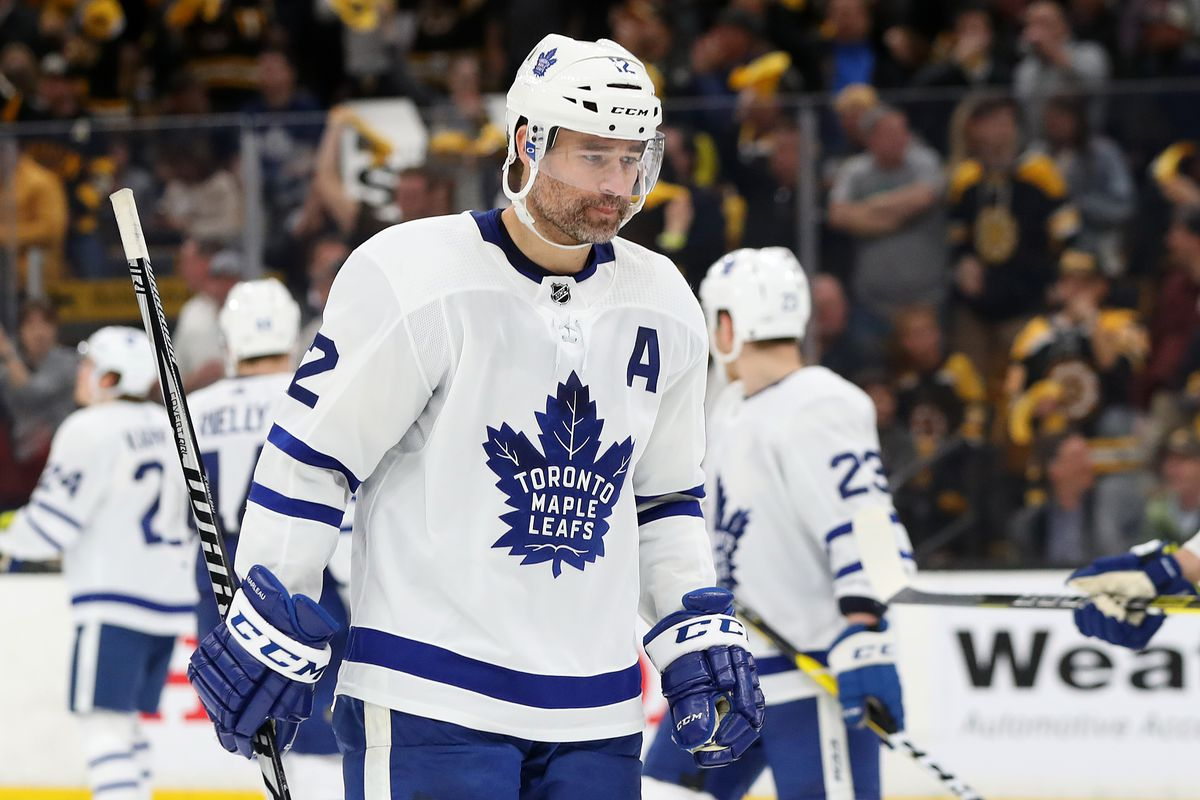 Patrick Marleau of the Toronto Maple Leafs looks on during the third period of Game 7 of the First Round against the Boston Bruins during the 2019 NHL Stanley Cup Playoffs at TD Garden on April 23, 2019 in Boston, Massachusetts. The Bruins defeat the Mapl