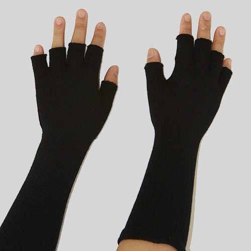 A pair of black fingerless gloves