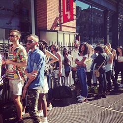 The lengthy line at Joyrich's debut New York pop-up shop.