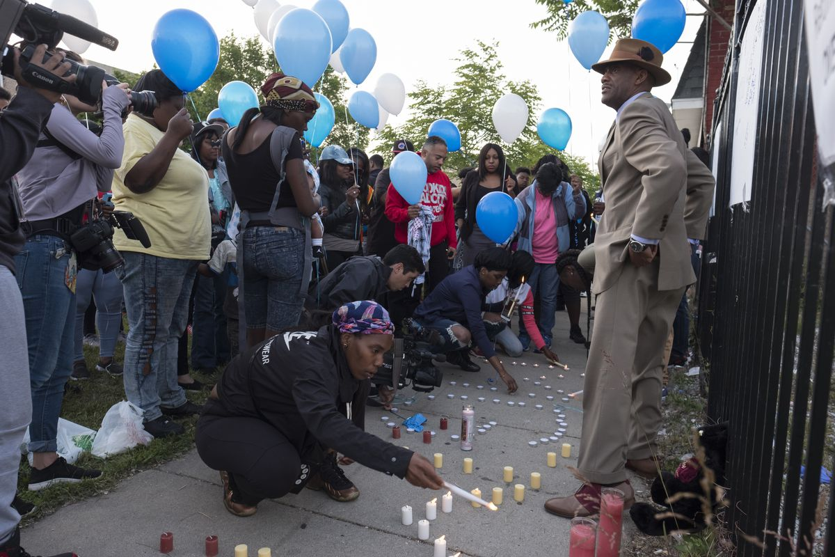 Vigil for Maurice Granton Jr., who was fatally shot by Chicago Police.   Rick Majewski/For the Sun-Times