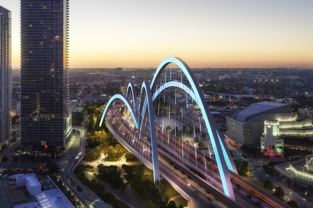 A rendering of the 'signature bridge' that's been chosen for I-395 in downtown Miami. it looks like a spider.