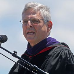 Federal Appellate Judge Merrick Garland, a 1970 graduate of Niles West speaks at his alma mater's 2016 commencement Sunday.   Tim Boyle/Sun-Times
