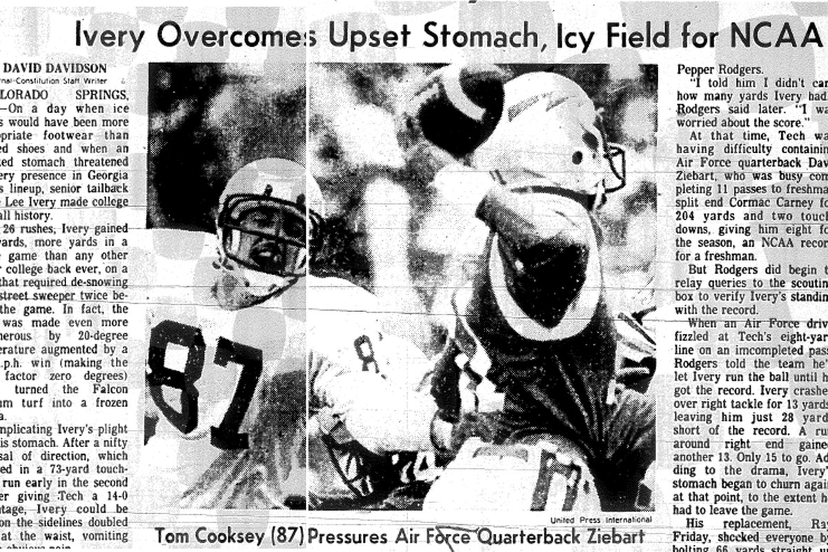 Tom Cooksey applies pressure to the Air Force QB in 1978.