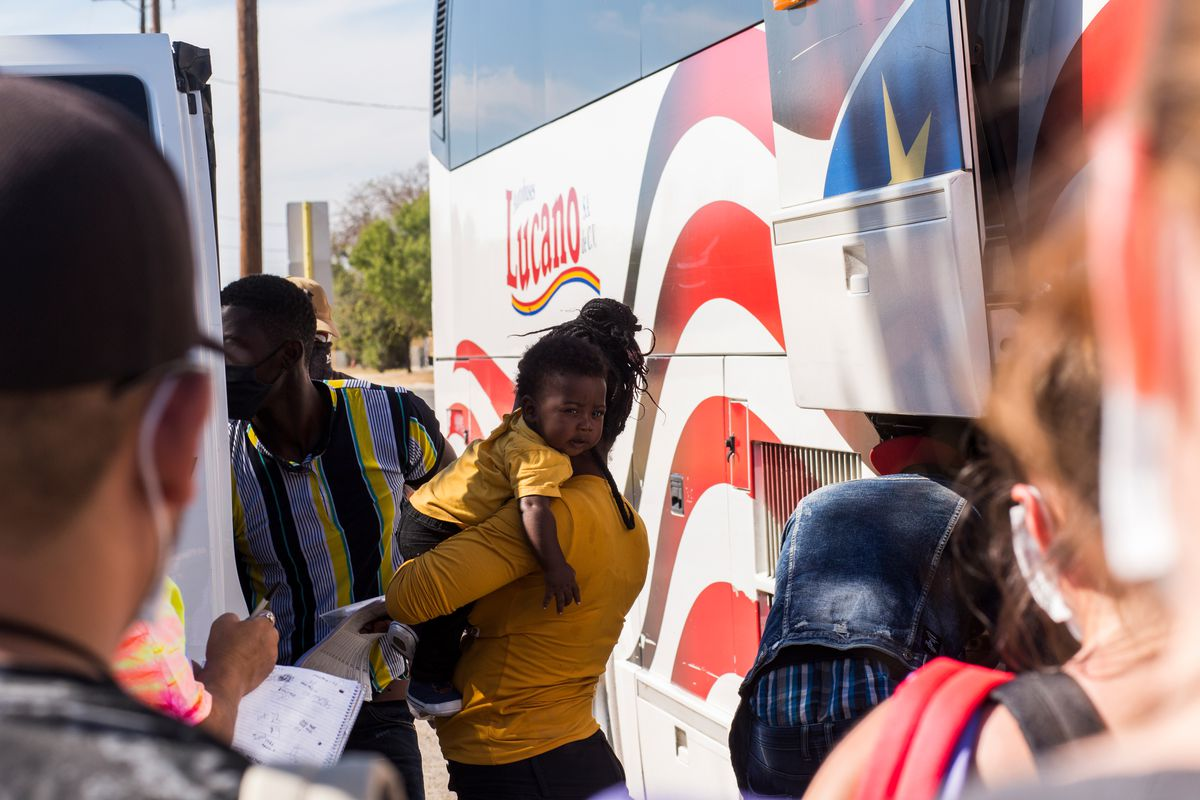 Haitians asylum seekers arrive at the Val Verde Border Humanitarian Coalition to take a bus to Houston, Texas, where they then transfer to relatives and friends' houses, Sept. 23, 2021.