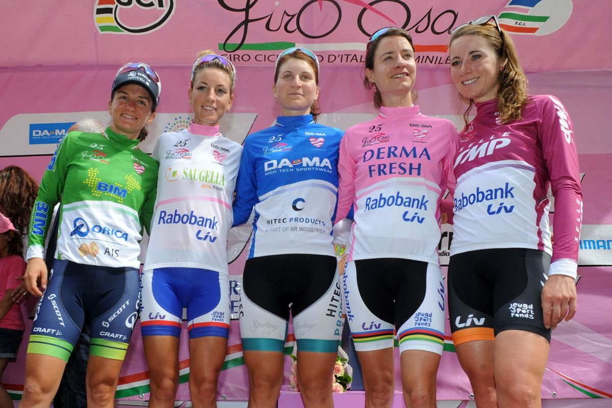 Vale Scandolara in the green Queen of the Mountains jersey