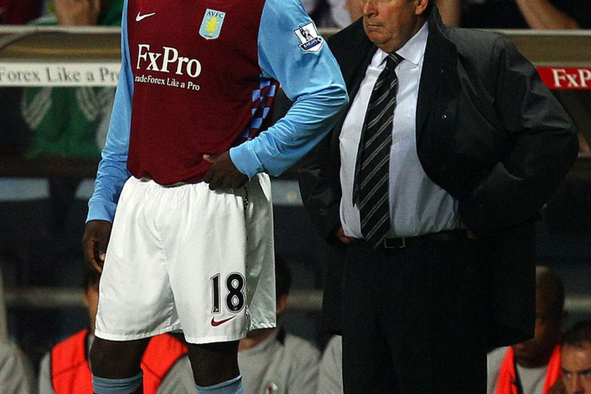 Aston Villa fans sent up a collective groan upon seeing Emile Heskey ready to enter the pitch, but were proven wrong just 30 seconds later. (Photo by Richard Heathcote/Getty Images)