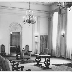 The celestial room of the Mesa Arizona Temple at its completion in 1927. Fluted pilasters with Corinthian capitals are design cues popular in the Colonial Revival style of 1920s America. Entering this sacred space represents the ultimate progression one can achieve: into heaven itself.