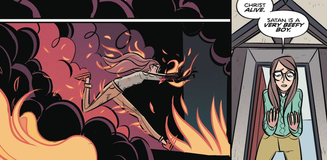 """Billie Baker, runs from hallucinatory flames. After she escapes, she stares at her uninjured hands and exclaims """"Christ alive. Satan is a very beefy boy,"""" in Steeple #5, Dark Horse Comics (2020)."""