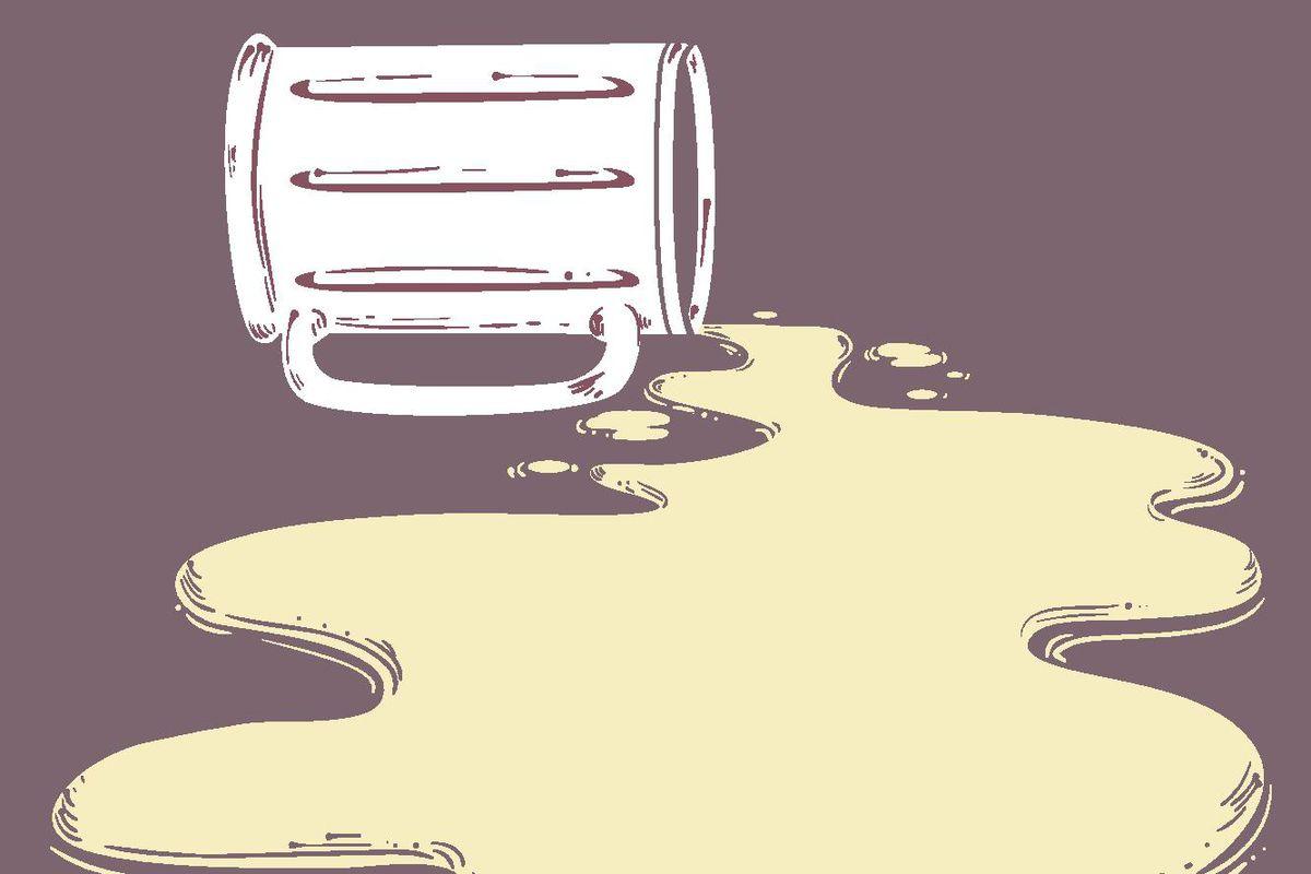An illustration of a spilled beer mug