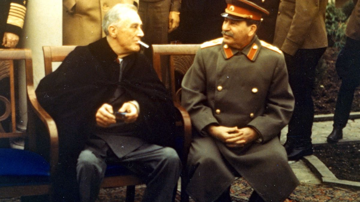 FDR gets ready to light a cigarette at Yalta.