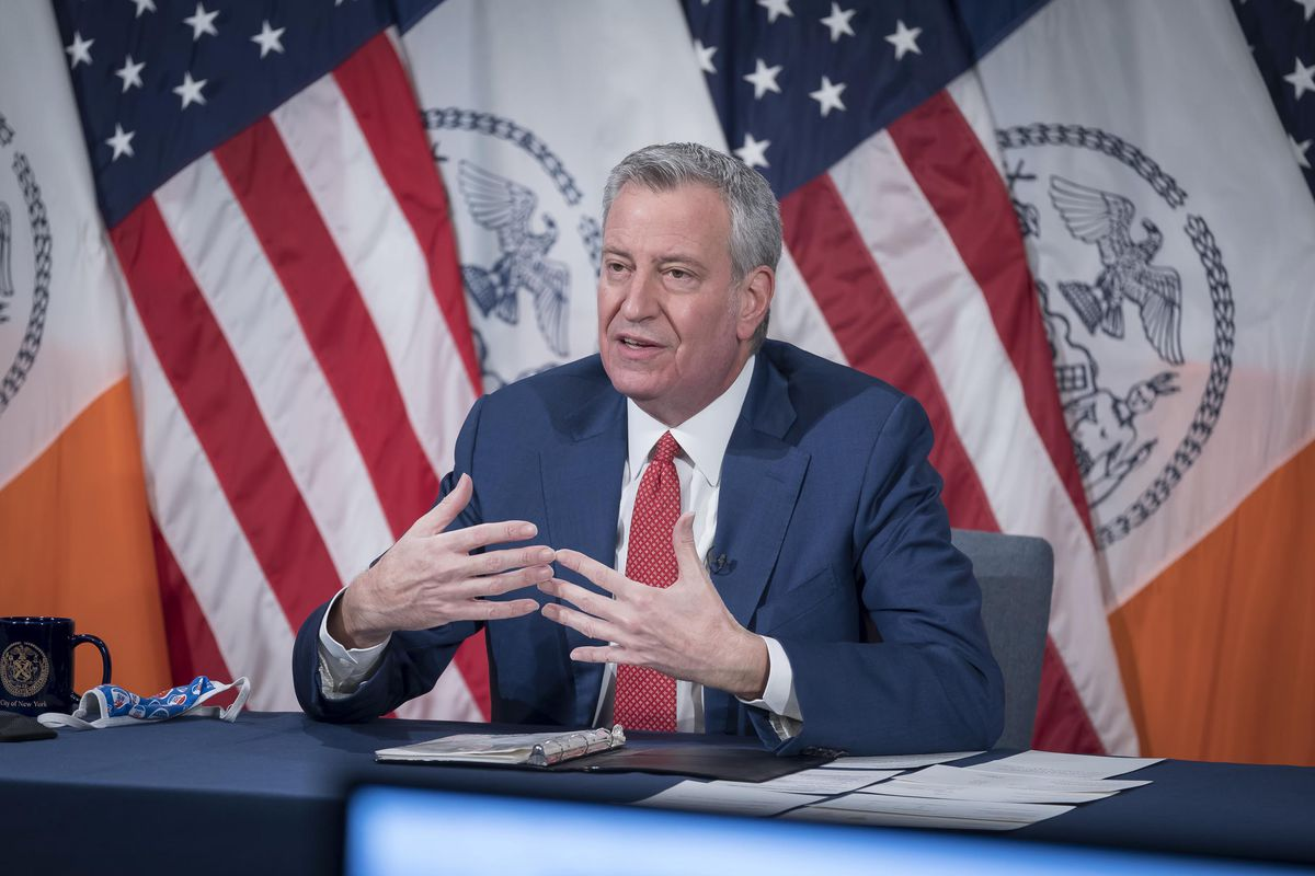 Mayor Bill de Blasio at his daily briefing on Jan. 13, 2021, the day he announced cancellation of all Trump Organization city contracts.