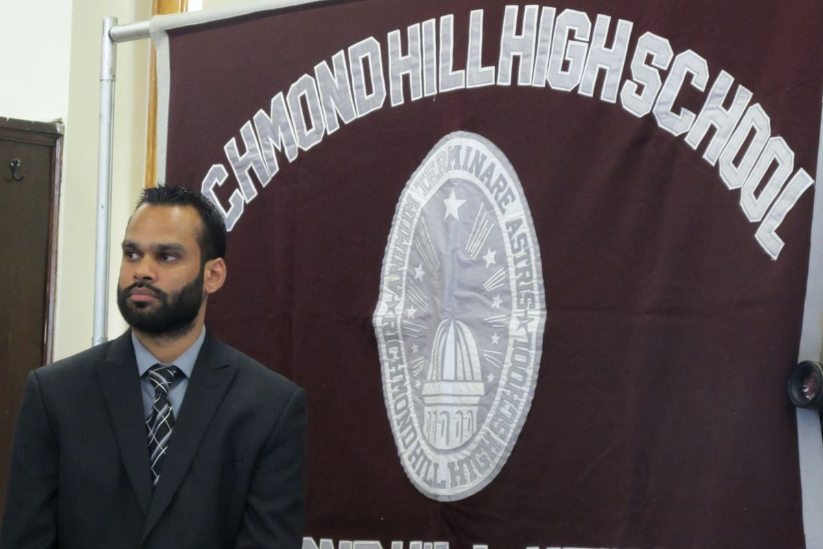 """Richmond Hill High School Principal Neil Ganesh was the subject of an angry letter from """"concerned staff members"""" last week."""