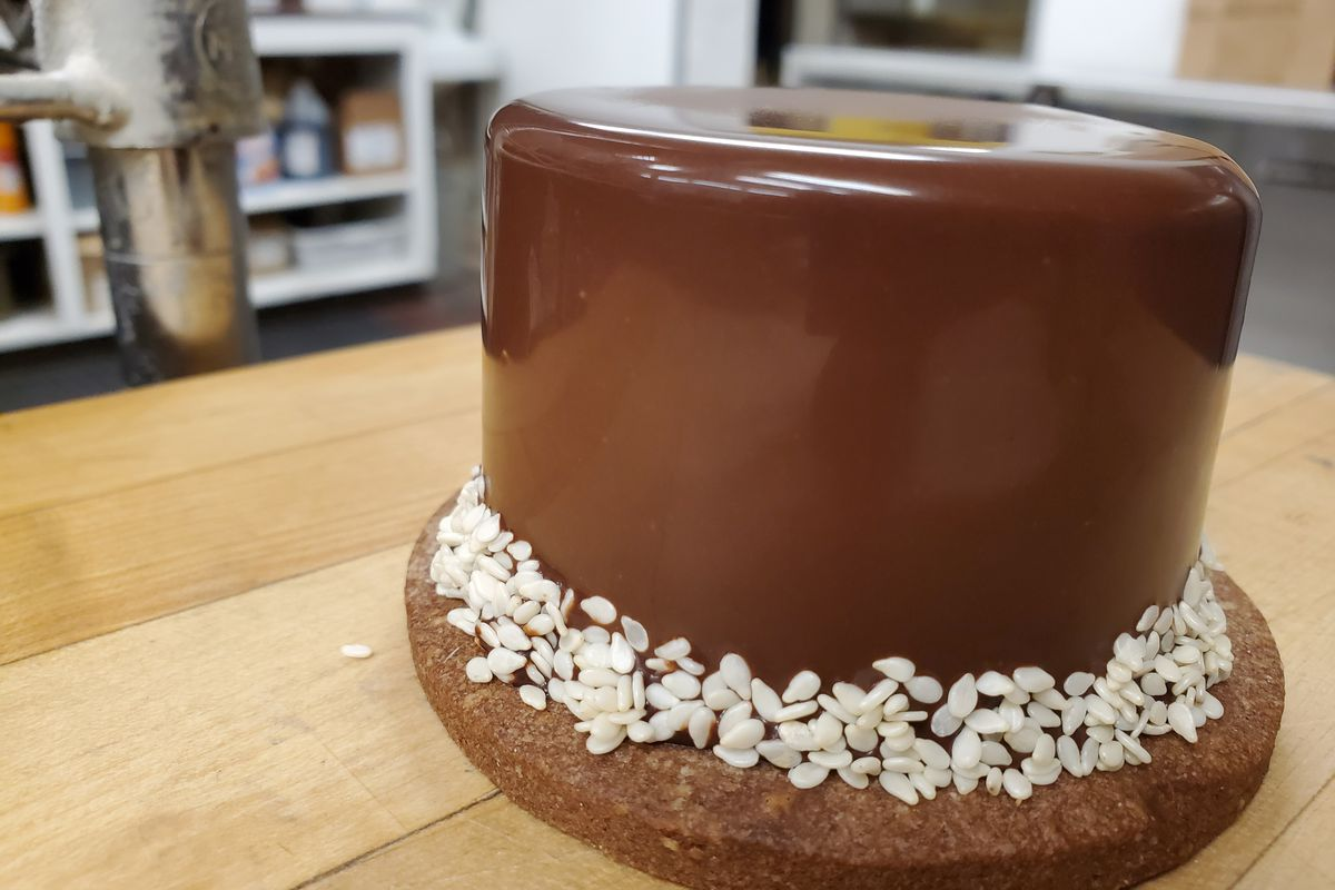A chocolate tahini tart from bakery Temple Pastries