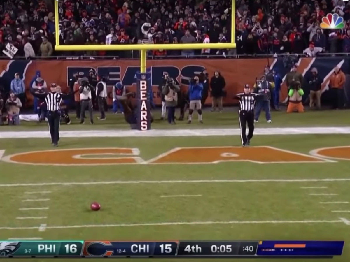 The ball came to rest near the three-yard line.   YouTube/NFL Highlights