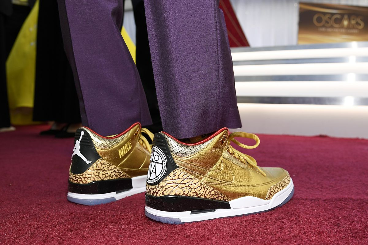 Best picture director Spike Lee's custom-made Air Jordans add some razzle-dazzle to the Red Carpet at Sunday nights's 91st Annual Academy Awards at the Dolby Theatre on February 24, 2019 in Hollywood, California. | Kevork Djansezian/Getty Images