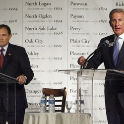 Utah Gov. Gary Herbert and challenger Peter Cooke participate in a debate on Friday, Sept. 14, 2012.