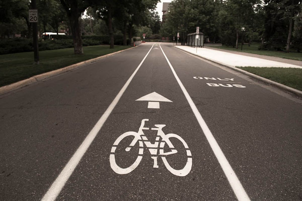 A bike lane in Minneapolis.