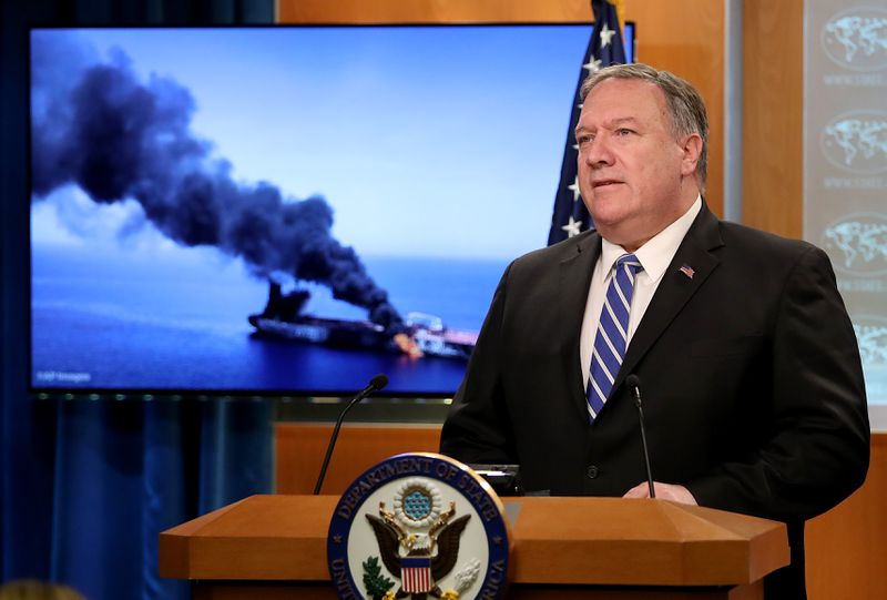 Secretary of State Mike Pompeo speaks from the State Department briefing room on June 13, 2019 in Washington, DC.