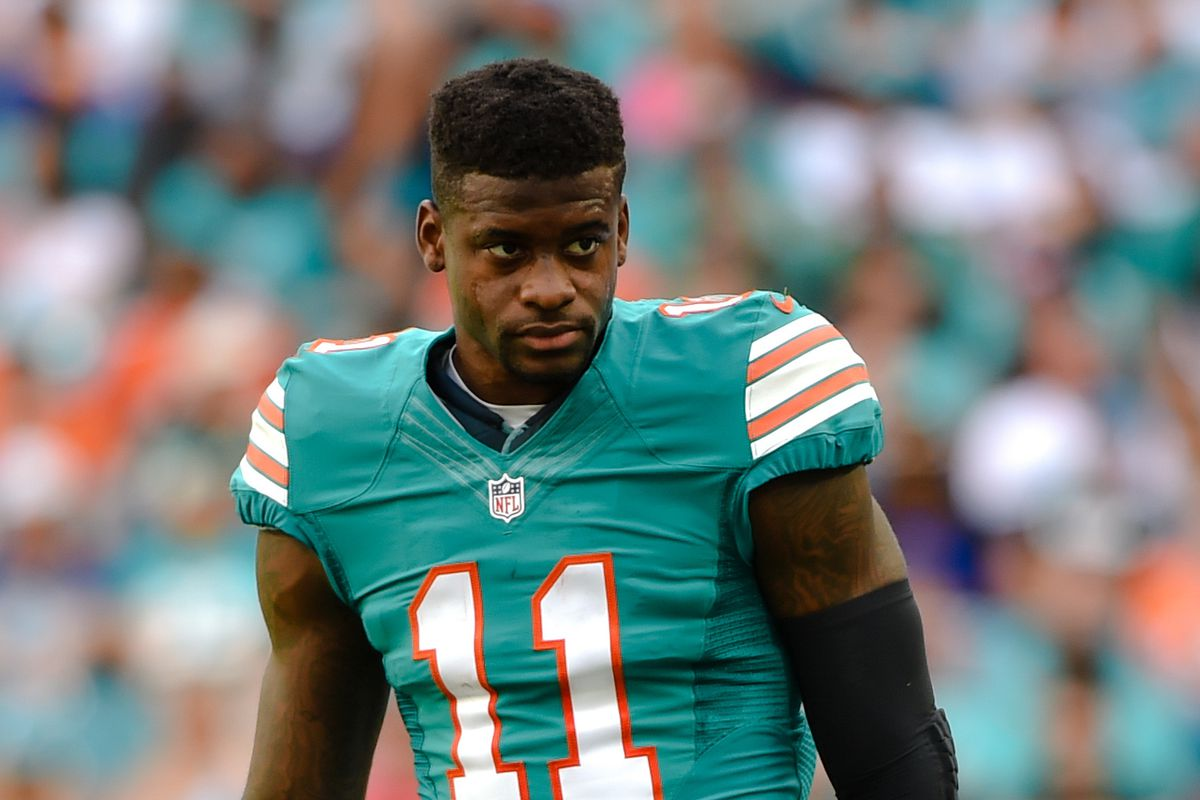 Miami Dolphins wide receiver DeVante Parker looks on during the first half against the Buffalo Bills at Hard Rock Stadium.