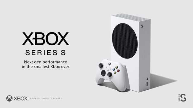 "a product render of the Xbox Series S, a white gaming console, standing vertically with a white Xbox Series S/X controller standing in front of it, to the right of ""Xbox Series X"" ""Next-gen performance in the smallest Xbox ever"""