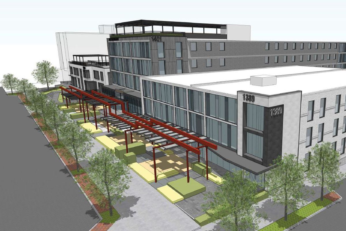 A rendering of the redeveloped corner of Peachtree and 17th streets.