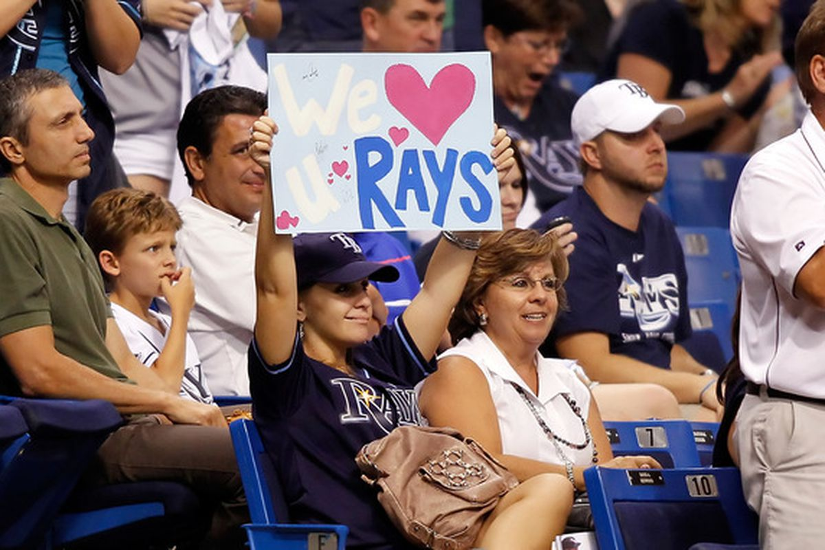 ST. PETERSBURG - SEPTEMBER 24:  Fans of the Tampa Bay Rays enjoy the game against the Seattle Mariners at Tropicana Field on September 24 2010 in St. Petersburg Florida.  (Photo by J. Meric/Getty Images)