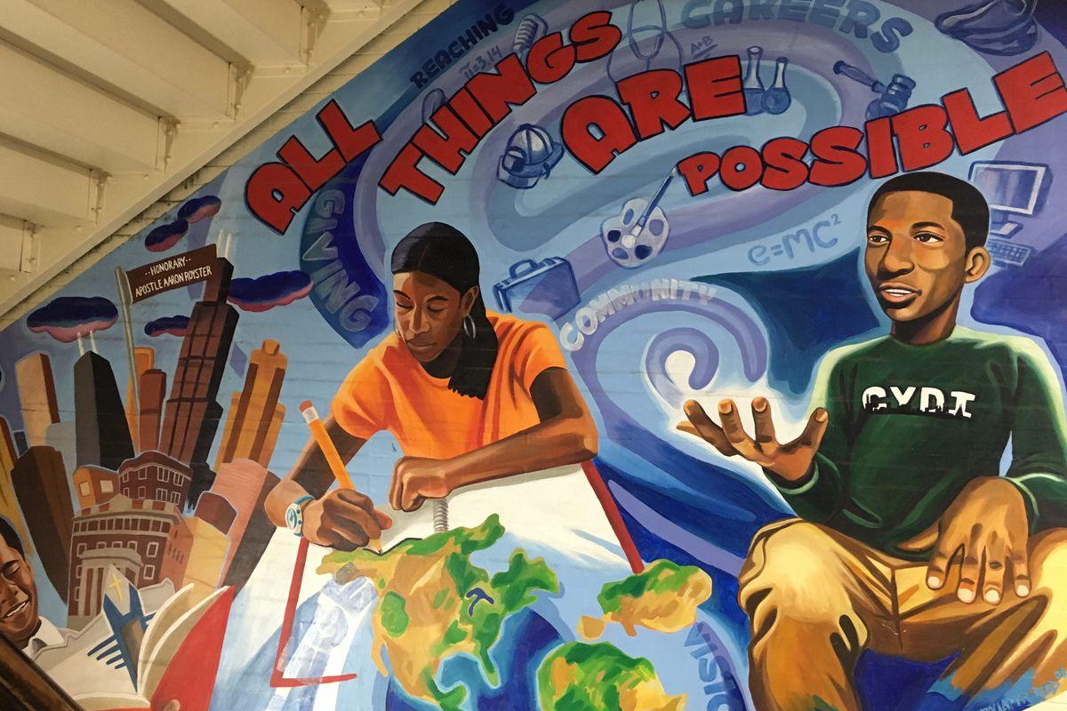 A mural inside the Community Youth Development Institute.