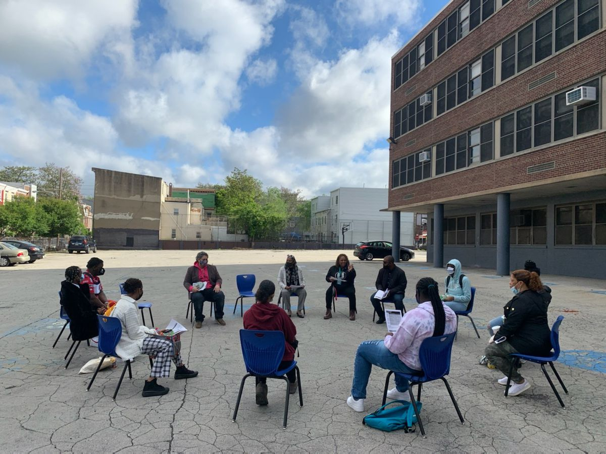 Socially distanced, outdoor class at the U School