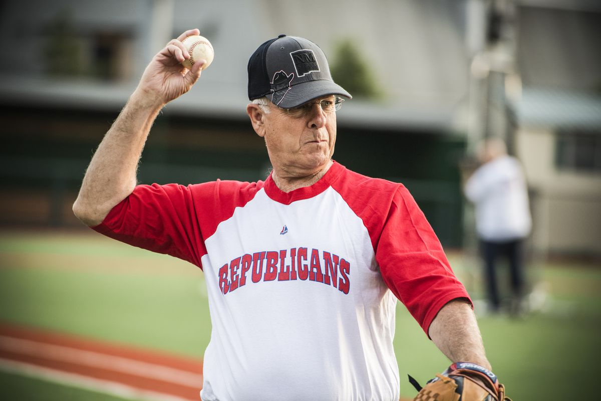 Rep. Steve Pearce (R-N.M.), participates in a scrimmage between Republican team members at the Washington Nationals Youth Baseball Academy on June 13, 2016.
