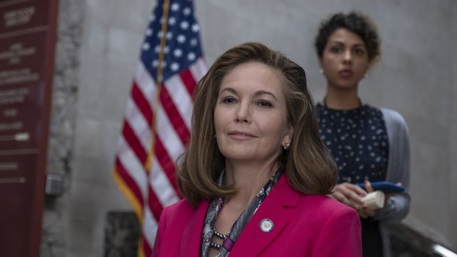 Diane Lane as the new president of the United States in Y: The Last Man, in a character who often feels like Nancy Pelosi