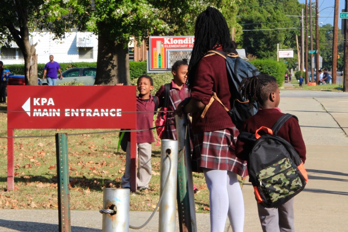 Students leave Klondike Preparatory Academy Elementary in December. The state-run charter school in North Memphis will close this month at the end of the school year.