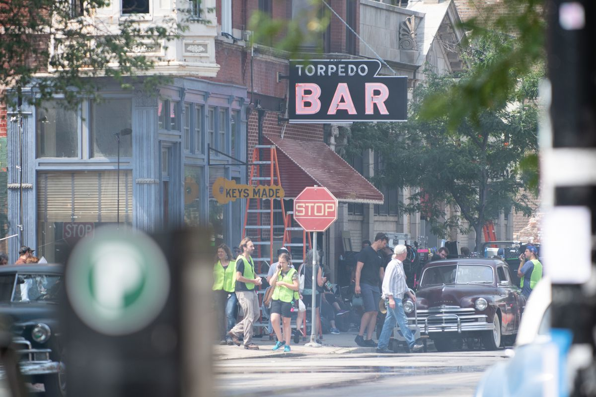 """Places in Pilsen were remade to resemble 1950s Chicago during the filming of """"Lovecraft Country"""" in 2018."""