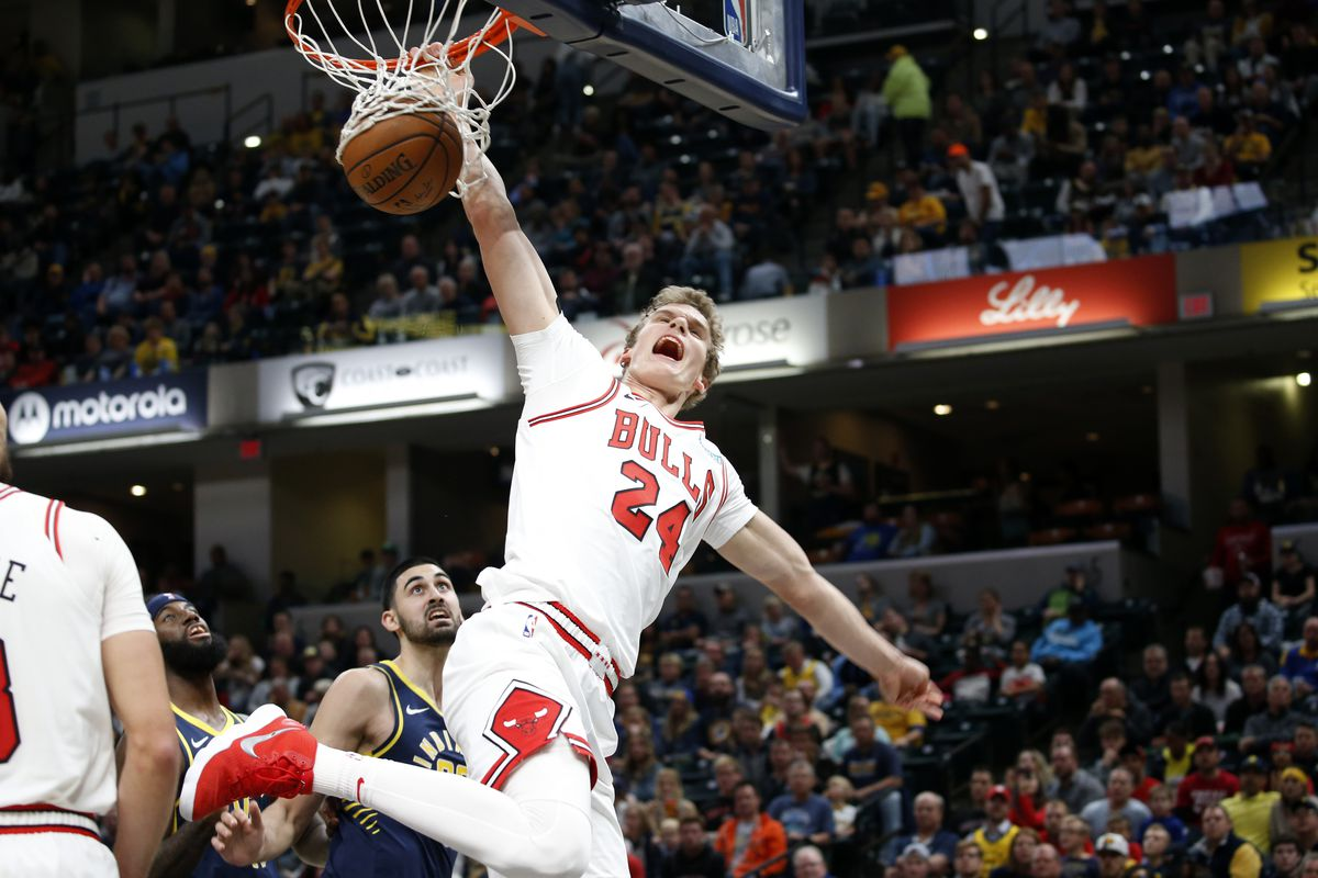 Chicago Bulls forward Lauri Markkanen dunks the ball against the Indiana Pacers during the third quarter at Bankers Life Fieldhouse.