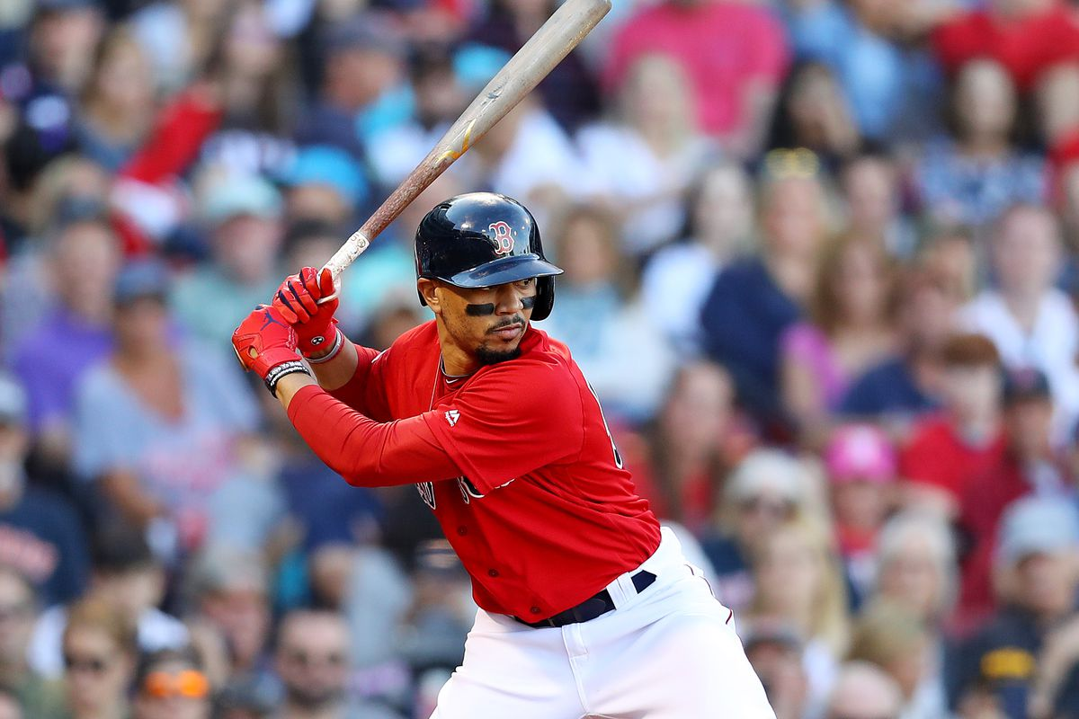 Mookie Betts of the Boston Red Sox at bat during the fifth inning against the Baltimore Orioles at Fenway Park on September 29, 2019 in Boston, Massachusetts.