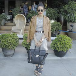 """Carlina Harris of <a href=""""http://allergictovanilla.com/""""target=_blank"""">Allergic to Vanilla</a> and her killer 3.1 Phillip Lim Pashli tote."""