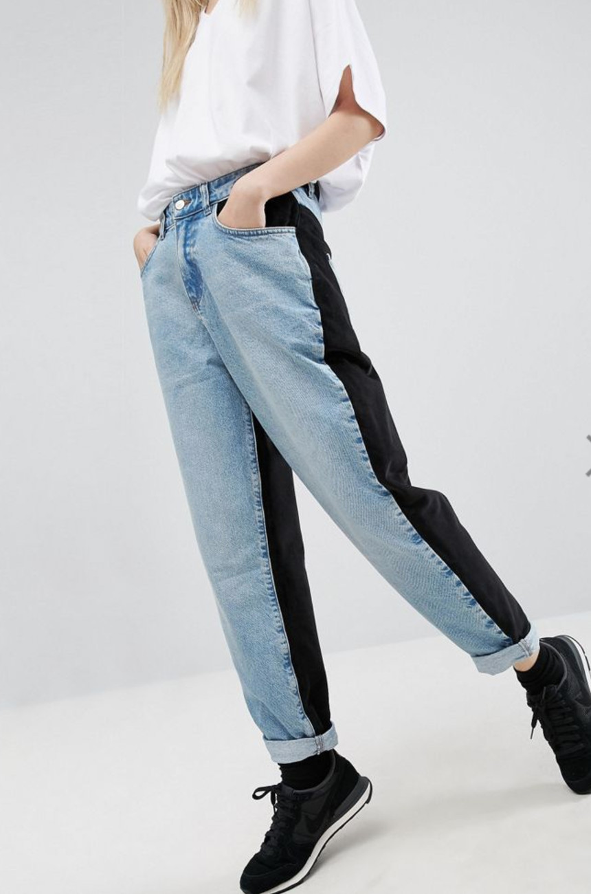 mixed material jeans