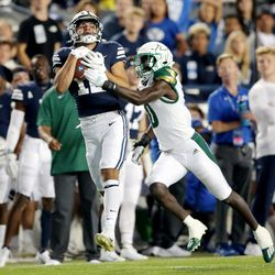BYU and USF play a college football game at LaVell Edwards Stadium in Provo on Saturday, Sept. 25, 2021.