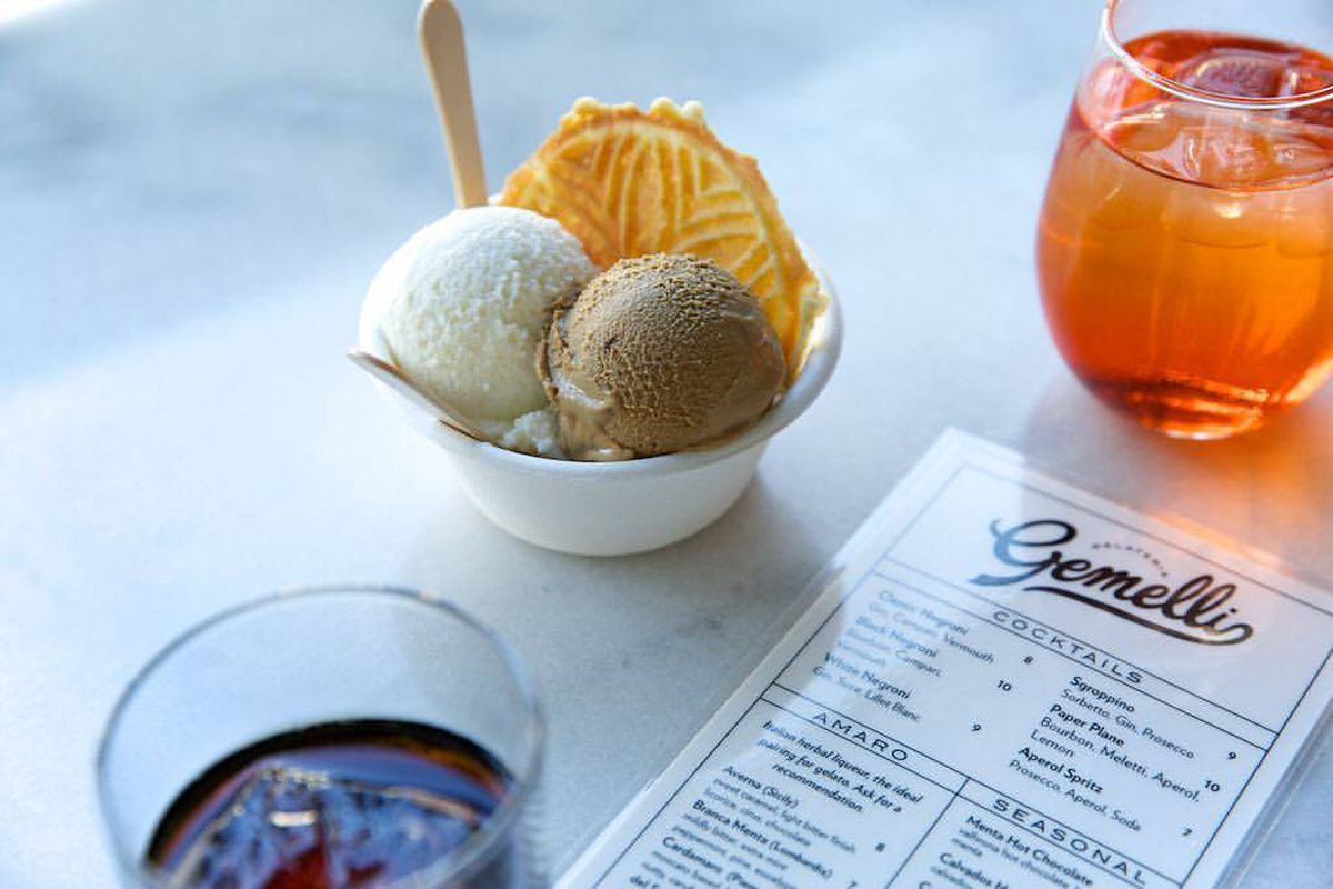 Gelato and a cocktail at Gelateria Gemelli