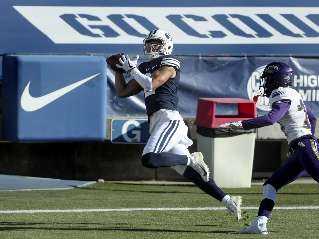 Brigham Young Cougars wide receiver Neil Pau'u (2) hauls in a touchdown over North Alabama Lions defensive back Gerrell Green (28) during a game in Provo on Saturday, Nov. 21, 2020.