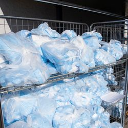 Face mask kits ready for pickup in Utah as part of the COVID-19 relief effort. Latter-day Saint Charities is partnering with Intermountain Healthcare and University of Utah Health to help sew 5 million clinical face masks to be donated to health care workers.