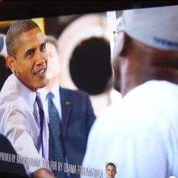 This undated frame grab taken from AP video shows a Barack Obama campaign ad on a television screen in Roanoke, Va. Political ads are blasting across the television airwaves in the Roanoke/Lynchburg Va. market, delighting broadcasters but making some viewers cringe. Blame Virginia's status as a swing state in the 2012 presidential race _ and the cheap air time in the Roanoke/Lynchburg television market. By the number of television households, with New York at the top, Roanoke is down the market size list at number 68.
