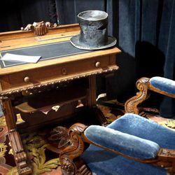 Abraham Lincoln's desk from when he was a member of the House of Representatives during 1847-1849 is on display at the Independence Through History Museum in the Grand America in Salt Lake City on Friday, July 5, 2013.